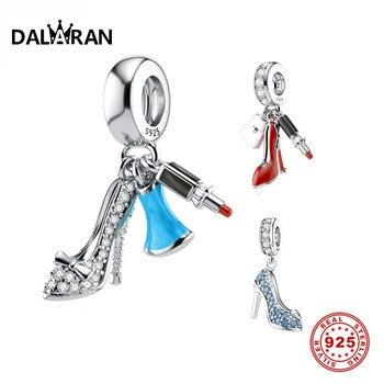 DALARAN Luxury 925 Sterling Silver CZ High Heel Shoe Lipstick Charms Bead Fit Pandora Original DIY Jewelry