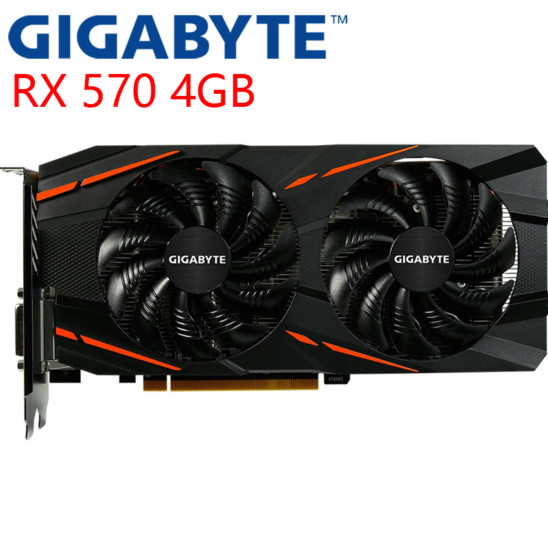 GIGABYTE Video Card RX 570 4GB 256Bit GDDR5 Graphics Cards for AMD RX 500 series VGA Cards RX570 Used 470 480 580 460 HDMI DVI|Graphics Cards| - AliExpress