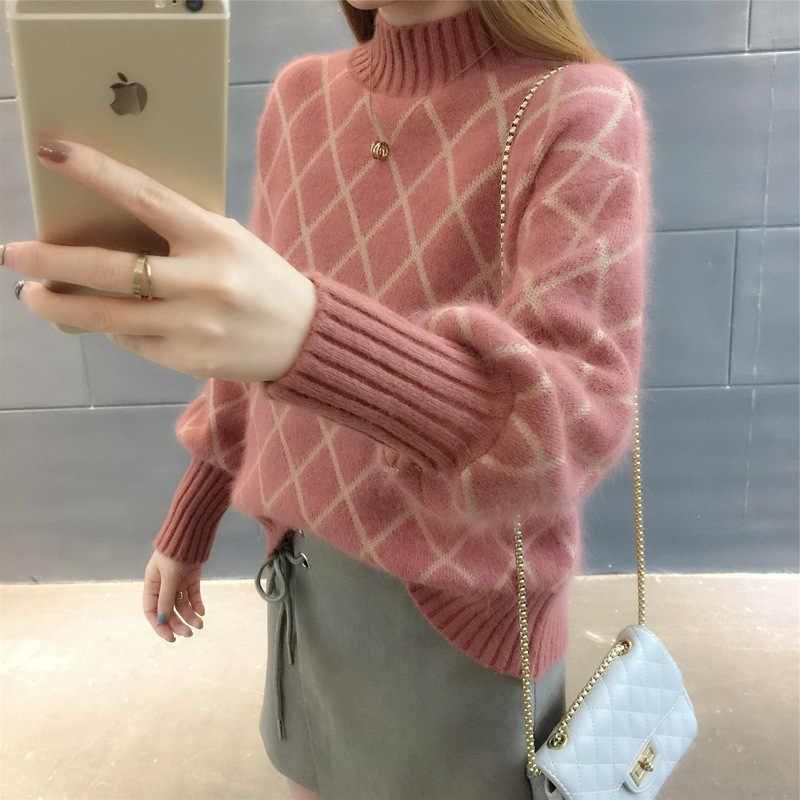 한국어 캐주얼-긴팔 두꺼운 줄무늬 격자 무늬 스웨터 2019 겨울 가을 터틀넥 레트로 스웨터 여성 니트 스웨터 여성