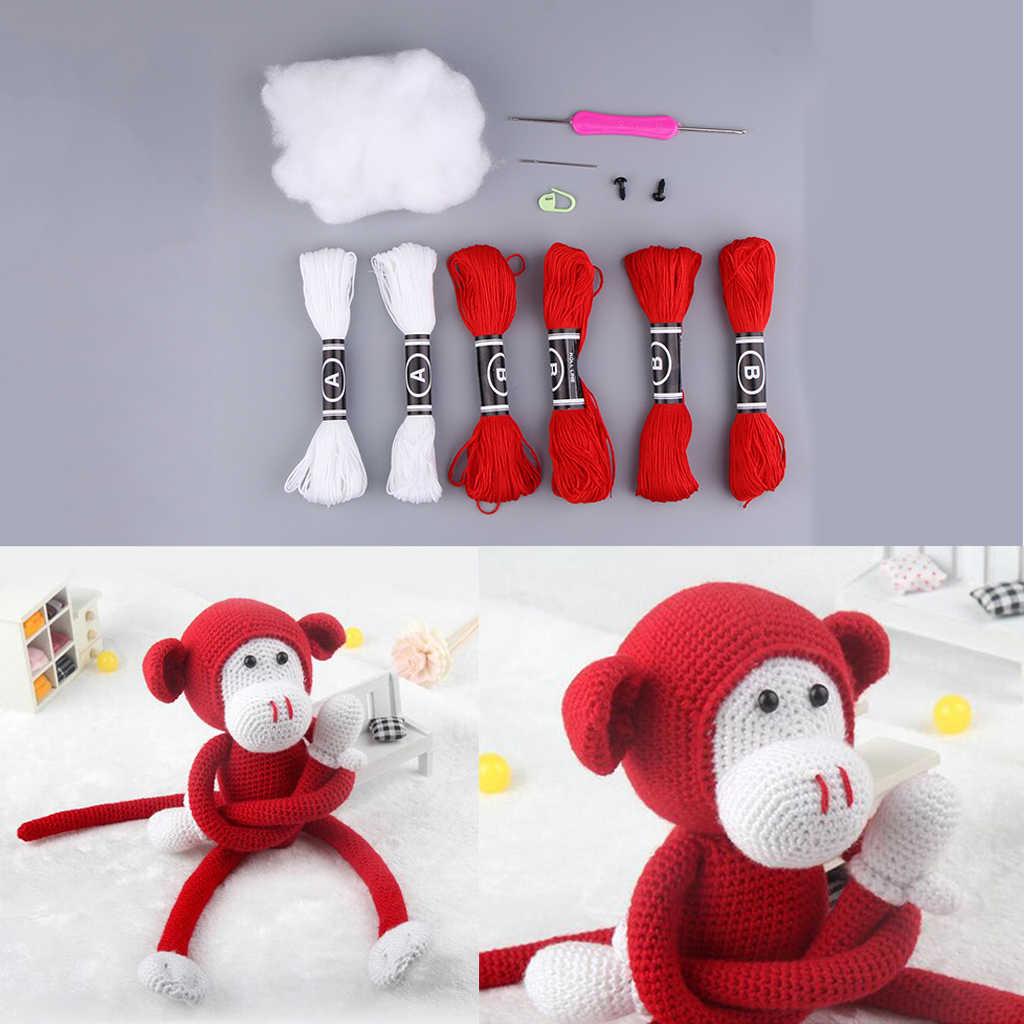 Kit de ganchillo de muñeca de mono DIY artesanal accesorio DIY hecho a mano