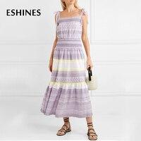 ESHINES Summer Elegant Purple Spaghetti Strap Midi Dress Embroidered Plaid Slash Neck Patchwork Boho Beach Dress