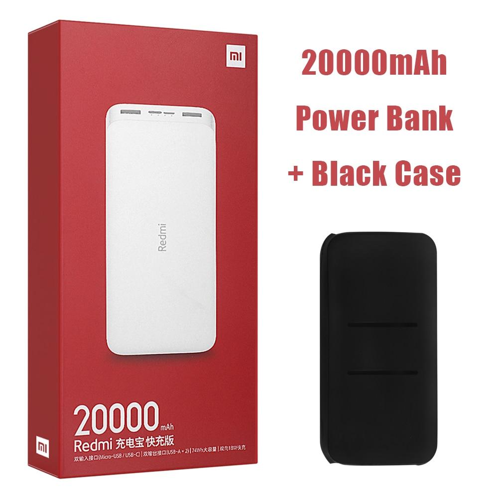 Новейший Xiaomi Redmi внешний аккумулятор 20000 мАч 18 Вт Быстрая зарядка 10000 мАч Внешний аккумулятор быстрая зарядка портативное зарядное устройство - Цвет: 20000mAh Add Black