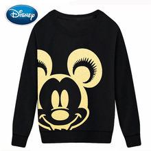 Disney Sweatshirt Mickey Mouse Cartoon Print Gold Chemische Verijdeld Stof O-hals Trui Koppels Unisex Lange Mouwen Tops S-3XL(China)