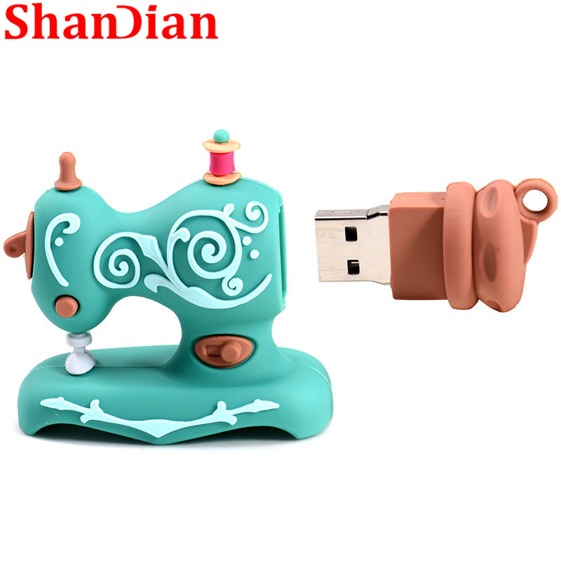 Image 4 - SHANDIAN Cartoon USB2.0 Flash Drive Sewing Machine Pen Drive Pen Drive 4GB 16GB 32GB 64GB 128GB U Disk Wedding Commemorative G-in USB Flash Drives from Computer & Office