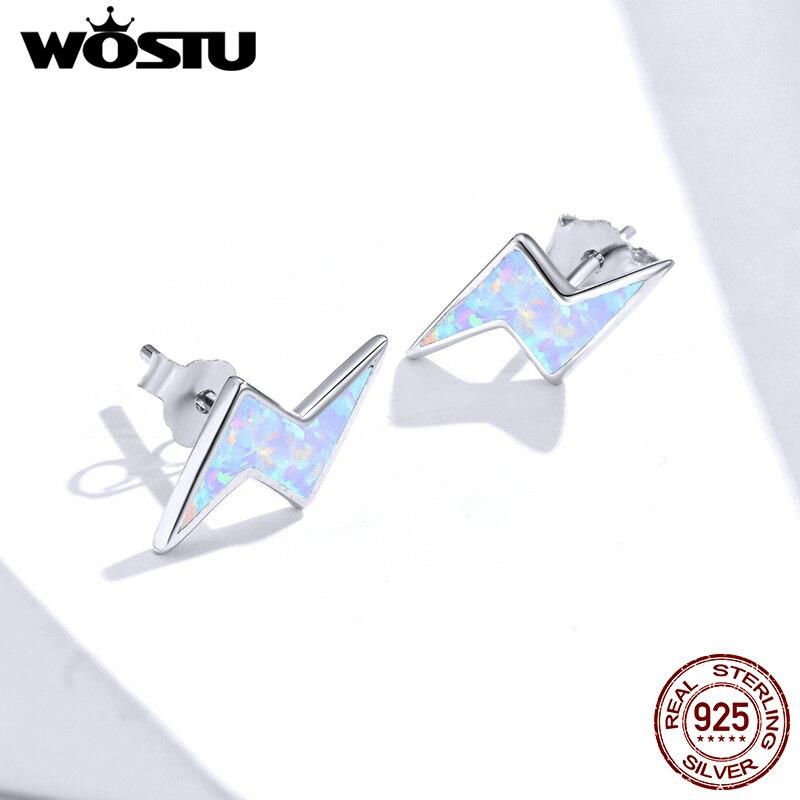 WOSTU Bright Lightning Opal Stud Earrings 100% 925 Sterling Silver For Women Tiny Earrings Fashion Party Silver Jewelry FIE860