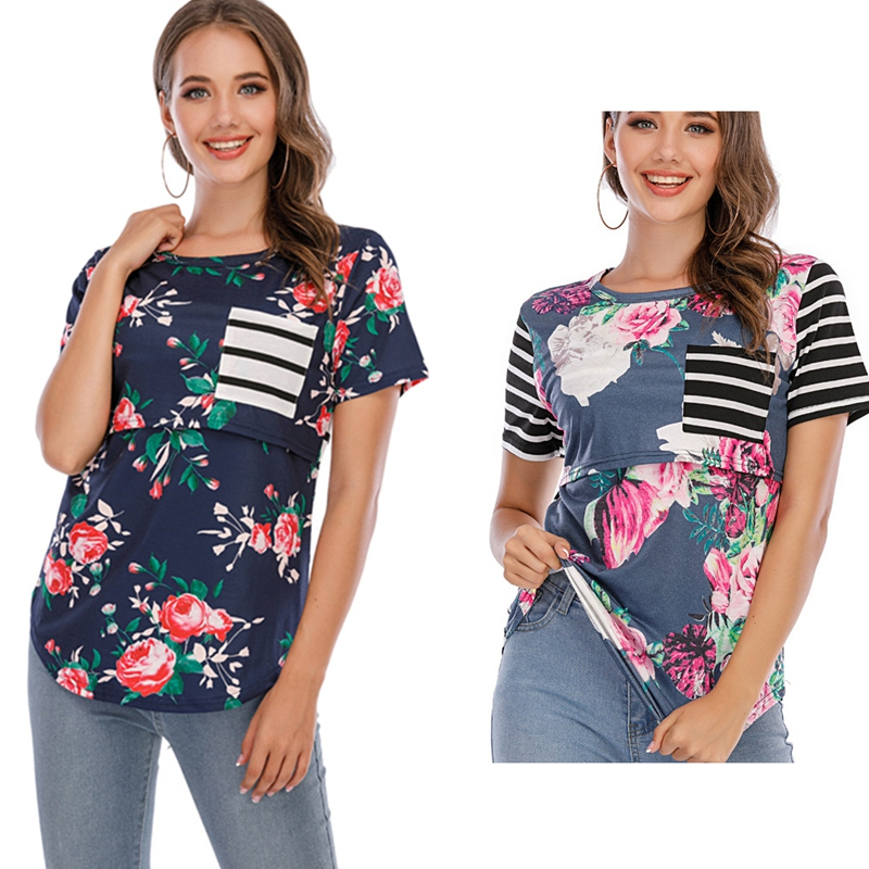 Maternity Breastfeeding Tops Women Pregnant Floral Printing T Shirt Nursing Clothes Maternity Ladies Tops