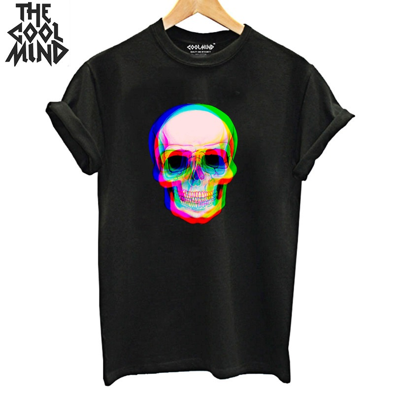 COOLMIND 100% Cotton Skull Print Women T Shirt Casual Short Sleeve Tshirt Women Loose Summer T-shirt Female Tee Shirts
