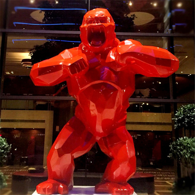 Big Monkey King Kong Living Room Decoration Gorilla Sculpture Geometric FRP Modern Statue Birthday Gift X3635