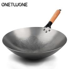 Железный вок традиционный ручной работы Железный вок с антипригарным покрытием газовая плита посуда