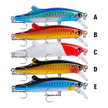 цена на 1PCS/lot 90mm 26 g Fishing Lure Minnow Hard Bait with 2 Fishing Hooks Fishing Tackle Lure 3D Eyes 5 Colors Drop Shipping