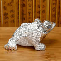 Sterling Silver 999 Toad Tea Pet Decoration Boutique Tea Set Accessories Lucky Golden Toad Gift Collection