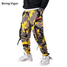 Camo spodnie taktyczne męskie Harem spodnie wstążki 2019 HipHop biegaczy fala Harajuku Streetwear deskorolka Cargo męskie na co dzień spodnie M-5XL tanie tanio BINWEIGE Cargo pants COTTON Midweight k19416 26 - 34 Pełnej długości Mężczyźni Hip Hop Luźne Wysoka Sznurek Kostki długości spodnie