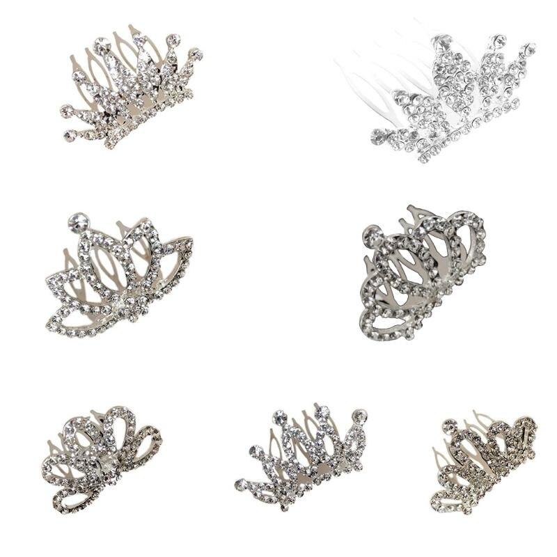 Children Girls Mini Tiara Hair Comb Glitter Rhinestone Crown Hairgrip Princess Bow Small Hairpin Clips Women Wedding Party Favor