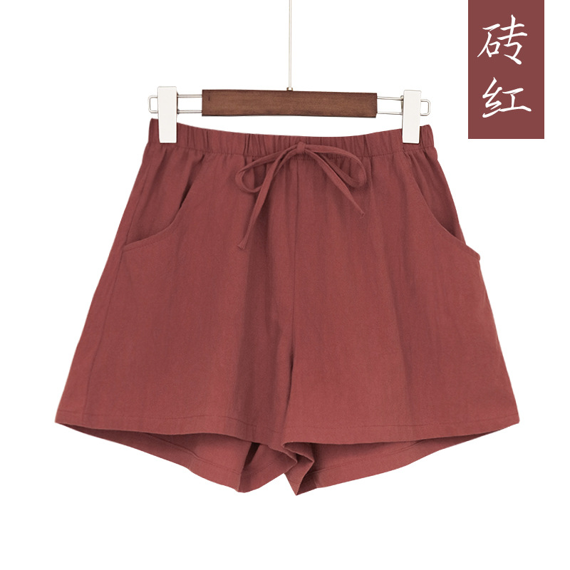 New Hot Summer Casual Cotton Linen Shorts Women Plus Size High Waist Shorts Fashion Short Pants  Streetwear Women's Shorts 7
