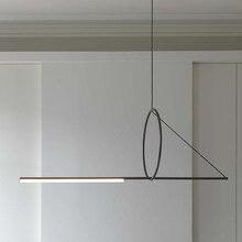 Lampe longue suspension en fer noir, pendentif LED lampes post moderne, luminaire décoratif, luminaire décoratif, idéal pour un loft, une chambre à coucher, un Bar, une salle à manger ou un café