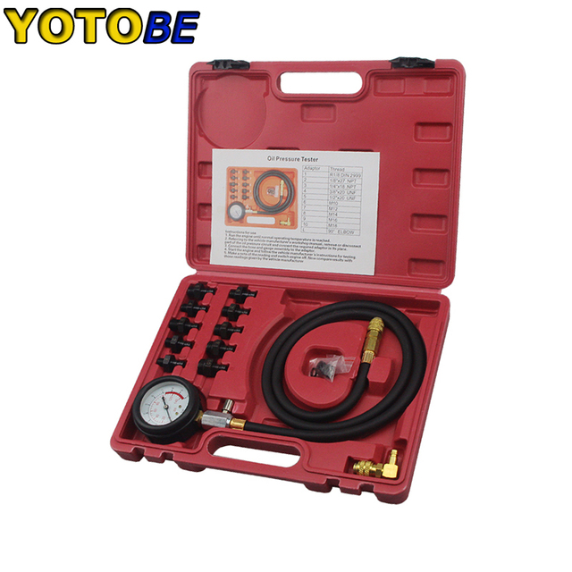 Engine Oil Pressure Test Kit Tester Low Oil Warning Devices Car Garage Tool