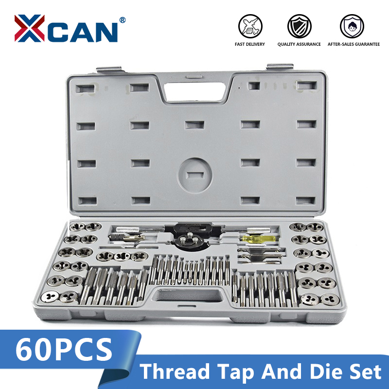 XCAN 60pcs Screw Tap Set Hand Tap Wrench Die Plug Tap Drill Bit Threading Tools Metric Tap And Die Set