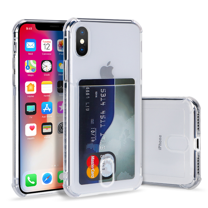 TPU Karte Slots Halter Telefon klar Fall Für <font><b>iPhone</b></font> <font><b>X</b></font> XR <font><b>XS</b></font> <font><b>Max</b></font> Clear Transparent Silicon Soft Cover Für <font><b>iPhone</b></font> 6 6S 8 7 Plus Capa image