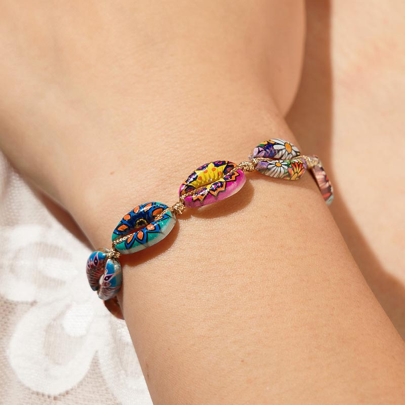 2019 hot sale explosion holiday style bracelet colorful inkjet alloy shell woven