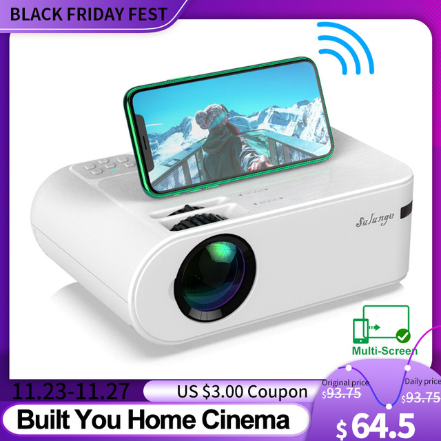 Salange P62 Mini Proiettore per Film Allaperto, supporto 1080P Full HD Projetor Home Theater 2800 Lumen Video Proiettore Beamer