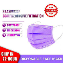10/50/100 máscaras descartáveis do filtro da dobra da camada do nonwove 3 do tampão roxo da boca dos pces para a máscara protetora da boca da proteção mascarillas