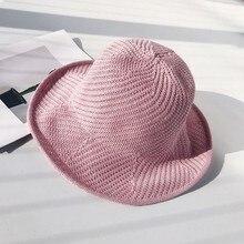 Женская шерстяная шляпа с широкими полями модная теплая однотонная трикотажная Складная Повседневная вязаная одежда в рыбацком стиле