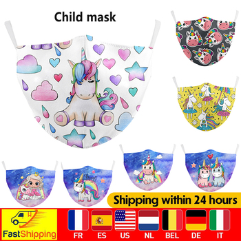 Unicorn Cartoons Print Child Masks Reusable Cover Dust Unisex Mouth Mask PM2.5 Face Washable Masks Breathable Mouth Fabric Masks image