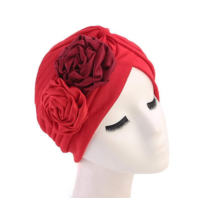 Image 2 - Women Double Flower Turban Hat Muslim Beanie Bonnet Chemo Cancer 