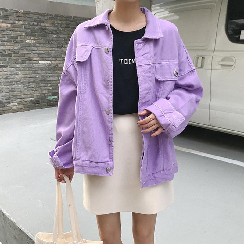 Jeans   Jacket   Women loose purple Denim   Jacket   Femme 2019 preppy style Bomber   Jacket     Basic   Coats womens (F6600)