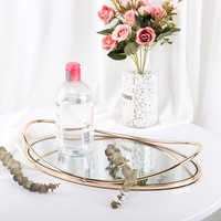 Nordic Retro Storage Tray Iron Oval Dotted Fruit Plate Cosmetics Jewelry Display Mirror Tray for Hotel Living Room Bar