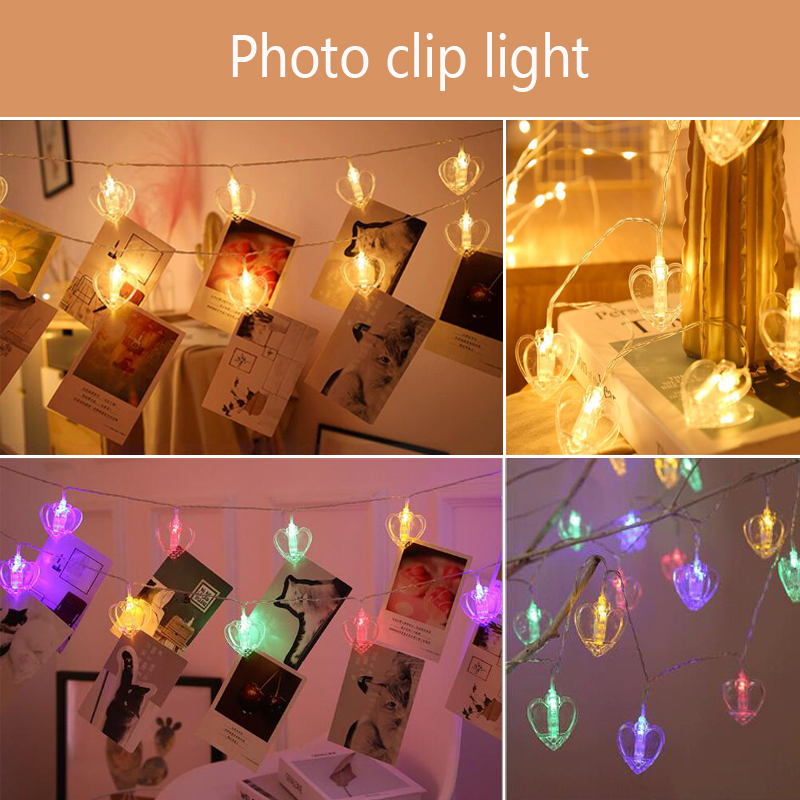 New  Bedroom  A Living Room  Transparent  Lamp String  LED  Heart-shaped  Love  Photo  Wall  Decorative Lamp  Clip Lamp