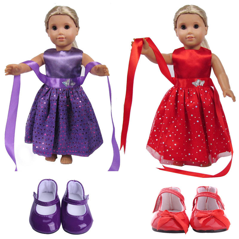 Doll Sequin Fashion Dress Dance Skirt For 18 Inch American Doll & 43 Cm Born Baby Generation Christmas Birthday Girl's Toy Gift