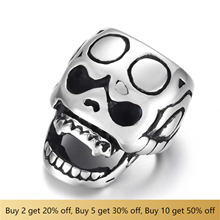 316L Stainless Steel Skull Slider Beads Hole 13x8mm Polished Accessories Slide Charms for DIY Bracelet Jewelry Making stainless steel slider beads shield skull 12 6mm hole slide charms for men leather bracelet punk jewelry making diy supplies