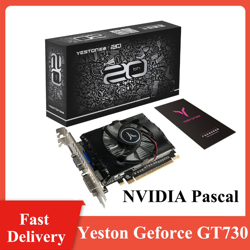 Yeston Geforce GT730 2G D5 VA Graphic Card NVIDIA Pascal 902-5012MHz 2G/DDR5/64bit  HD + VGA + DVI-D portsfor Game Working