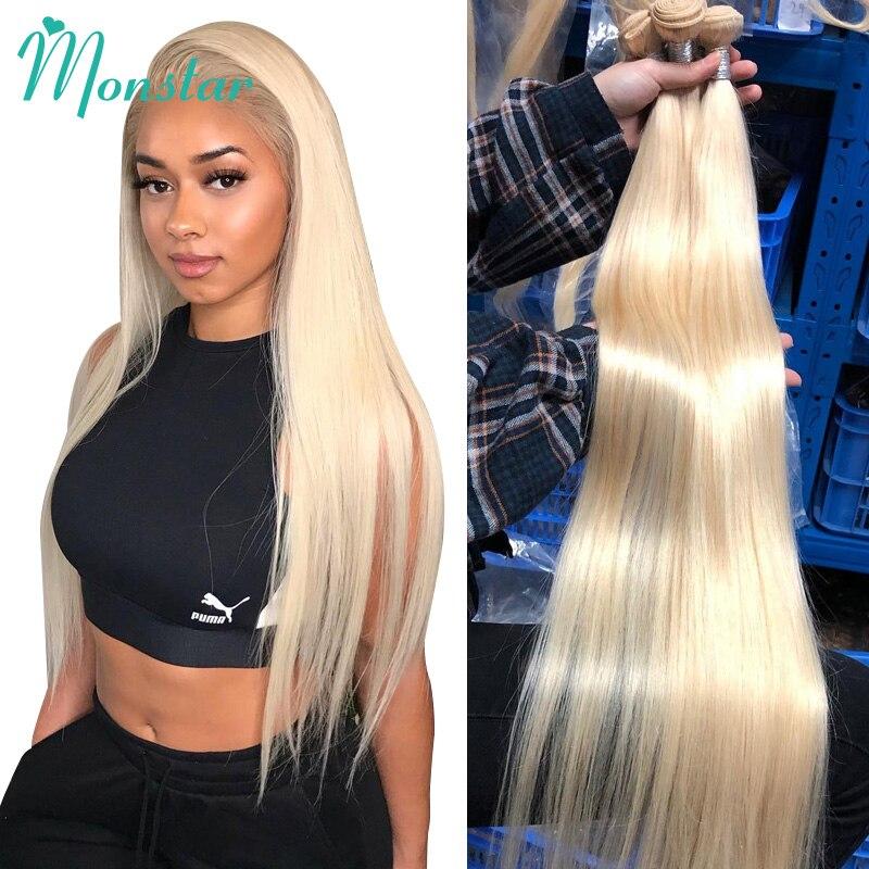 Mechones de pelo lacio Rubio Monstar 1/3/4 613 extensión de cabello humano Remy peruano mechones de rubio miel 8- 40 pulgadas envío gratis