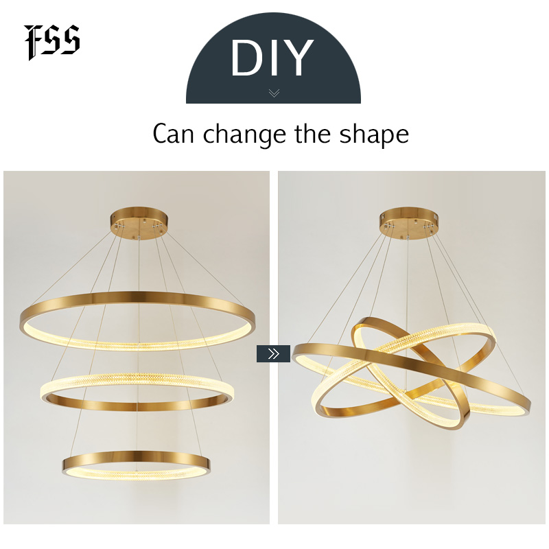 FSS Modern Round Circle Chandelier Lighting Gold Chandeliers Circular Geometry Creative Lamp Led Lights Indoor Lighting Fixtures