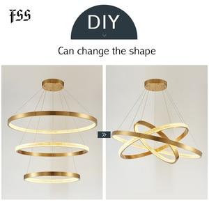 Image 2 - FSS الحديثة دائرة مستديرة أضواء الثريا الثريات الذهب دائري الهندسة الإبداعية مصباح Led أضواء تركيبات إضاءة داخلية