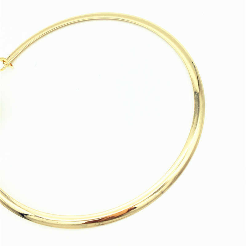 זהב חרוזים חתונה אפריקאים סטי תכשיטי הכלה שרשרת אופנתי אירופה מוגזמת סגנון גדול פרל סוודר שרשרת