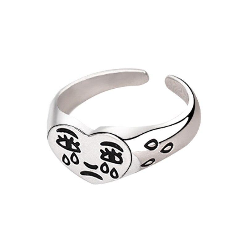 Ретро любовь плачет уход за кожей лица Открытое кольцо для Для женщин простой цвет: старое серебро с милыми геометрическими грустно слезы л...