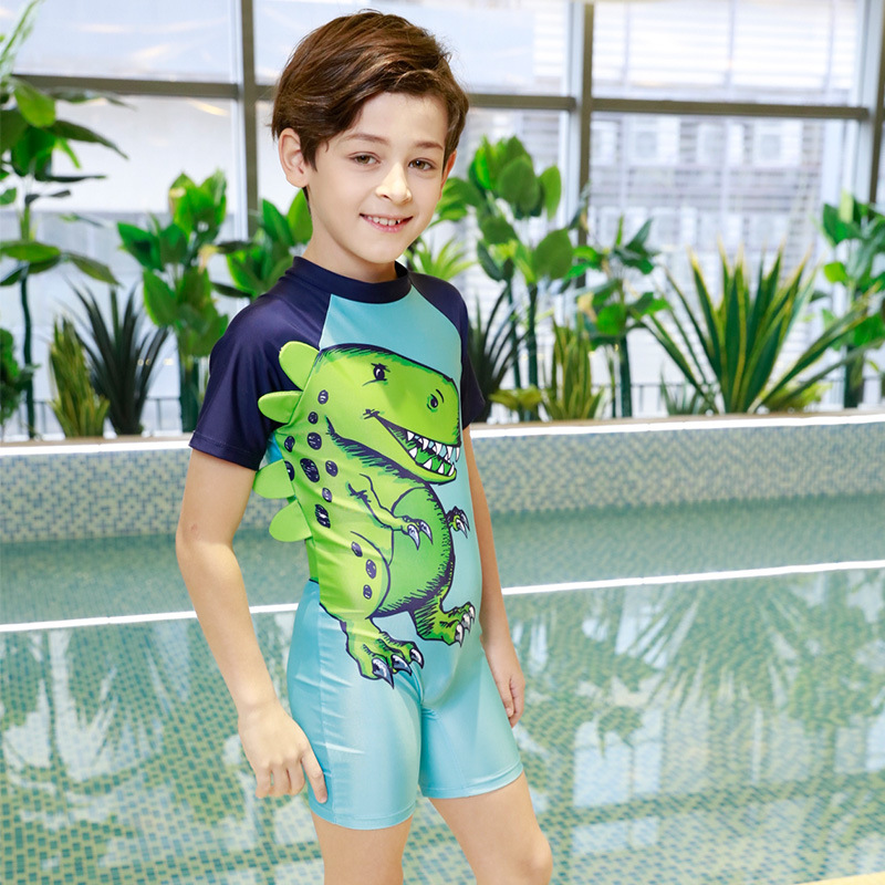 KID'S Swimwear BOY'S Small CHILDREN'S One-piece Dinosaur Swimsuit Sun-resistant Quick-Dry Baby Infant Hot Springs Swimming Trunk