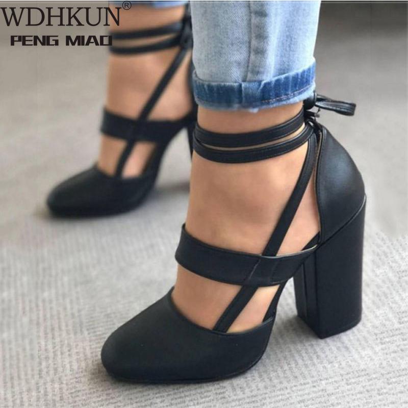 Women Pumps Plus Size 35 43 Women Heels Chaussures Femme Gladiator Summer High Heels For Party Wedding Shoes Women Thick Heels