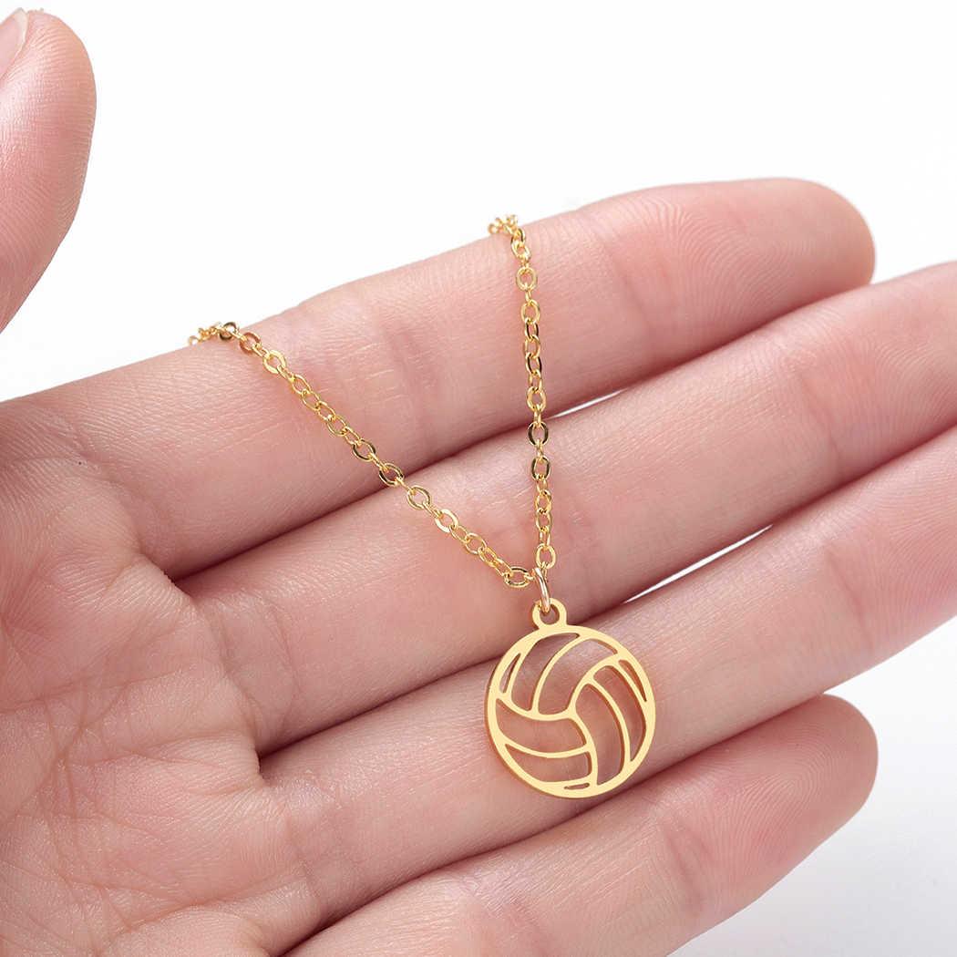 Colgante de voleibol baloncesto fútbol 3 colores oro y Rosa oro y plata Collar para mujeres Dropshipping proveedor de moda