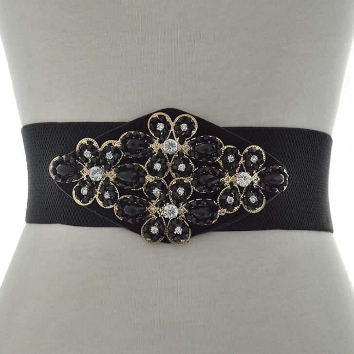 Women's Runway Fashion Blingbling Beaded Elastic Cummerbunds Female Dress Corsets Waistband Belts Decoration Wide Belt R2523