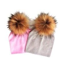 winter children s infant toddler hat cap Kids baby boys girl cotton newborn photography props raccoon faux fur pompom hat beanie