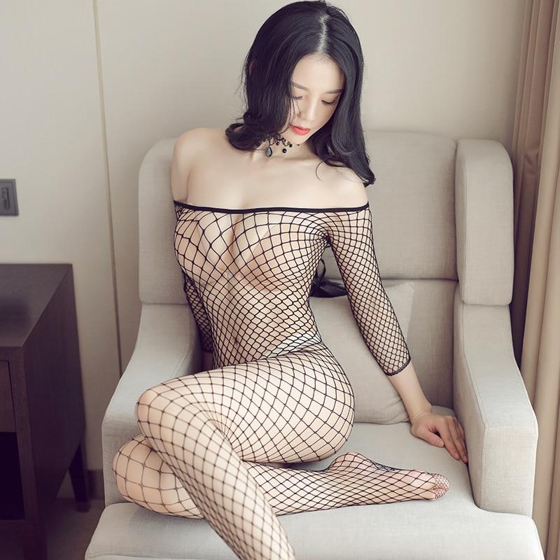 Full Body Fishnet Tights Women Sexy Lingerie Hollow Mesh Open Crotch Bodystockings Transparent Bodysuit Erotic Underwear