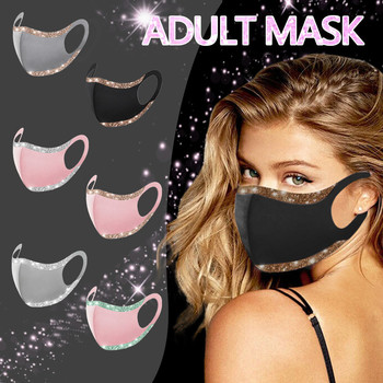 1PC Kpop Adult Sequins Adjustable Windproof Reusable Printed Face Mask Solid Color Fashion Face Mask Cover Mascarilla Mujer F107