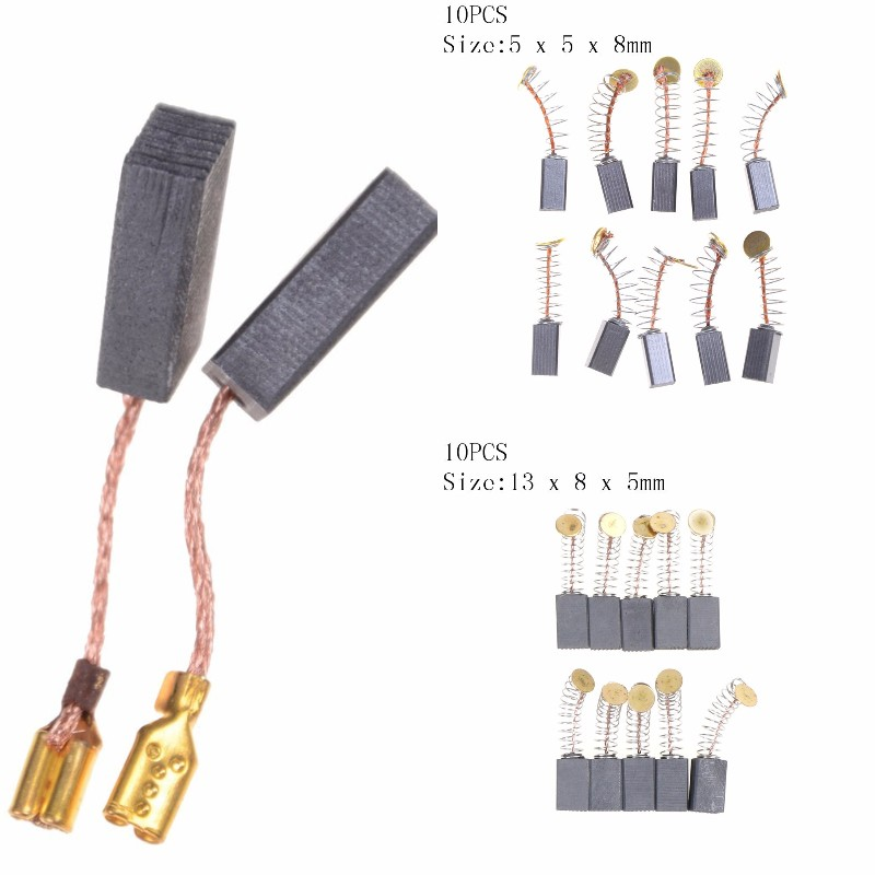 10Pcs Graphite Copper Motor Carbon Brushes Set Tight Copper Wire for Electric Hammer/Drill Angle Grindern