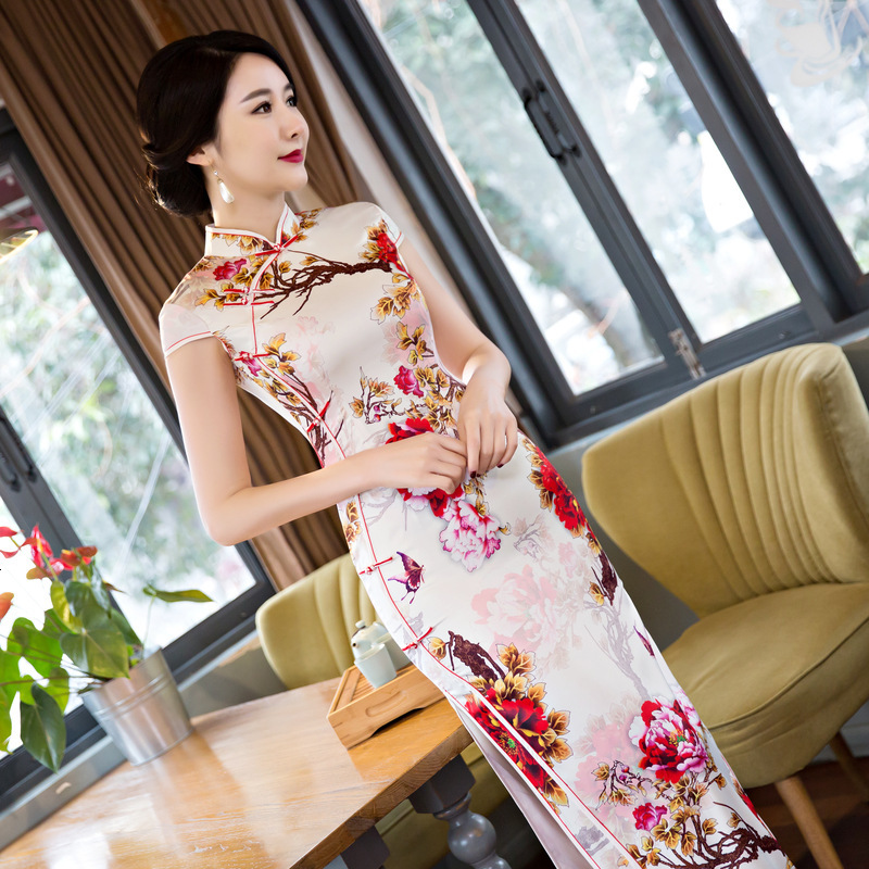 Sheng Coco 6XL 5XL 4XL Large Size Women Clothing Pink Butterfly Flower Pattern Long Silk Cheongsam Dress China Wedding Qipao