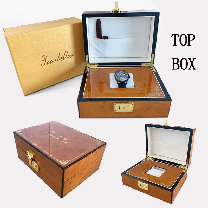 2019 Real Tourbillon Mechanical Hand Wind Sapphire Mens Watches Top Brand Luxury Rhinestone Clock men Gold Relogio Masculino 5