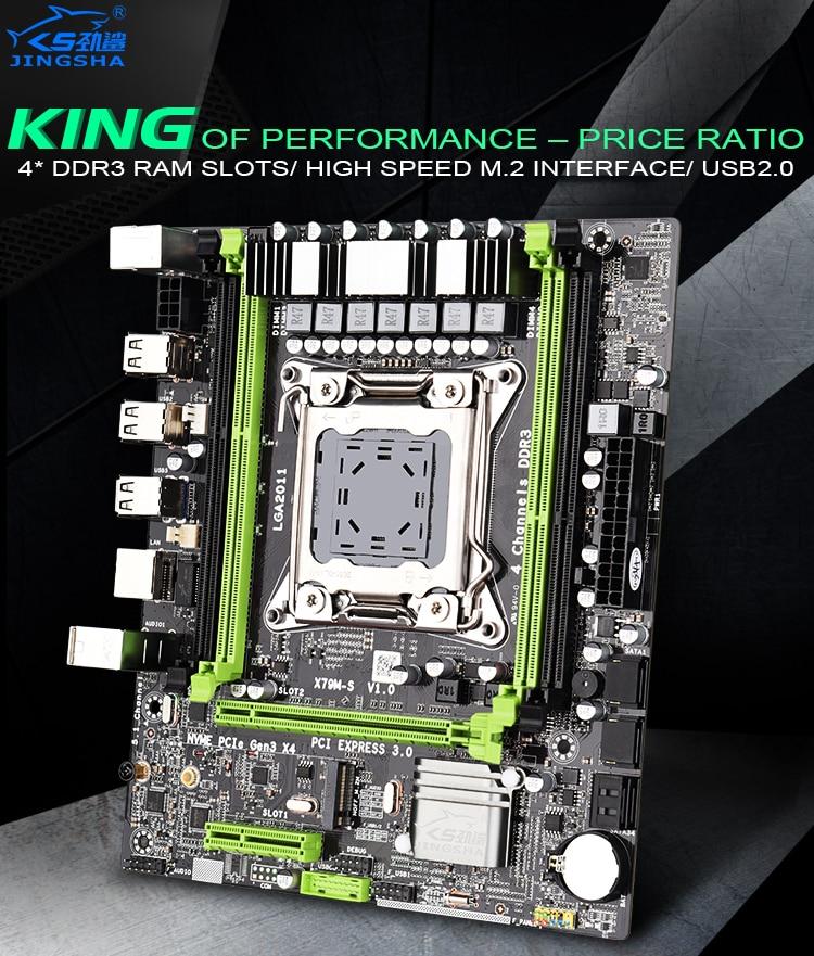 Ecc e Processador Placa-mãe Jingsha Lga2011 m Atx Usb2.0 Pci-e Nvme M.2 Ssd Suporte Reg Memória Xeon e5 X79 X79m-s 2.0